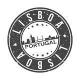Lisbon Portugal Europe Round Button City Skyline Design Stamp Vector Travel Tourism. Skyline with emblematic Buildings and Monuments of this famous city vector illustration