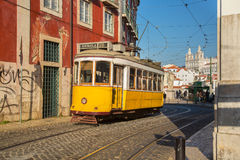 Lisbon, Portugal, Europe - Traditional Tram Passing Stock Photography