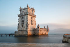 Lisbon, Portugal, Europe - view of the belem tower at sunset Stock Photo