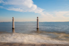 Lisbon, Portugal, Europe - View of the wharf columns Royalty Free Stock Images