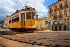 Lisbon, Portugal, 2016 05 06 - famous tram no 28 on the old stre. Et of Alfama Stock Photography