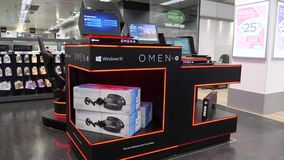 Omen by HP PC Computer stand inside El Corte ingles IT department. LISBON, PORTUGAL - FEB 10, 2018: Omen by HP PC Computer stand inside El Corte ingles IT stock video footage