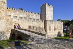 Castelo de Sao Jorge aka Saint George Castle. Lisbon, Portugal - February 01, 2013: Castelo de Sao Jorge aka Saint George Castle. Entrance of the Castelejo aka Royalty Free Stock Image