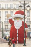 Lisbon, Portugal - 01/03/19: Giant Santa statue Baixa Chiado stock photos