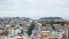 Lisbon, Portugal, general view: the castle, hills and Tagus Royalty Free Stock Images