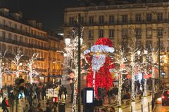 Lisbon, Portugal - 12/26/18: Giant Santa statue in the middle of the street in Baixa Chiado stock photos