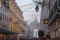Lisbon, Portugal - 12/26/18: Rua Augusta Arch, Christmas decorations downtown stock image