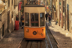 LISBON, PORTUGAL - 11 JANUARY, 2017: Bica funicular. Stock Image
