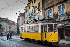 LISBON, PORTUGAL - January 31, 2011: The mythical tram line 28 t. Hat runs through the historical center of Lisbon is still a claim for tourists Royalty Free Stock Photos