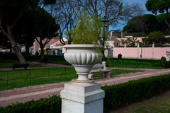 Plant pot at Afonso de Albuquerque Garden Jardim Afonso de Albuquerque. Lisbon, Portugal. January 23, 2018. Plant pot at Afonso de Albuquerque Garden Jardim stock photography