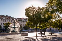 LISBON, PORTUGAL - January 30, 2011: Rossio Square fountain in Lisbon Royalty Free Stock Image