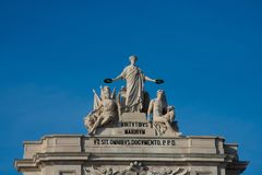 Statue of Glory rewarding Valor and Genius. Lisbon. Portugal. January 23, 2018.  Statue of Glory rewarding Valor and Genius. Rua Augusta Arch Arco da Rua Augusta Royalty Free Stock Photography
