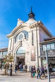 Time Out Market Lisboa, Portugal. External entrance, people walking on the street. stock photography