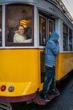 LISBON, PORTUGAL - January 28, 2011: A scene of the Alfama neighbourhood Royalty Free Stock Photography
