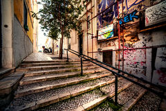 Lisbon, Portugal - January 18, 2016 - Typical view of old town i stock image