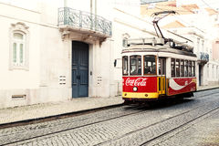 Lisbon, Portugal - January 19, 2016 - Typical yellow tram number Stock Photo