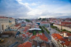 View from the top of the Santa Justa elevator on Lisbon Royalty Free Stock Image