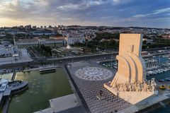 Aerial view of the Monument to the Discoveries in the city of Lisbon at sunset; Royalty Free Stock Image