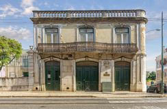 Old house with a balcony. Lisbon, Portugal royalty free stock photography