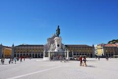 Commerce Square in Lisbon, Portugal. Lisbon, Portugal - June 11, 2017 : Praca do Comercio Commerce Square, Rua Augusta Arch and  equestrian statue of King Jose I Royalty Free Stock Photo