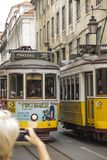 Lisbon, Portugal - June 10, 2018: Typical Yellow Vintage Tram in. Lisbon, Portugal royalty free stock photo