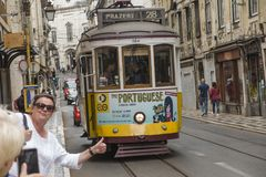 Lisbon, Portugal - June 10, 2018: Typical Yellow Vintage Tram in. Lisbon, Portugal royalty free stock photos