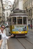 Lisbon, Portugal - June 10, 2018: Typical Yellow Vintage Tram in. Lisbon, Portugal stock photo