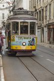 Lisbon, Portugal - June 10, 2018: Typical Yellow Vintage Tram in. Lisbon, Portugal stock photography