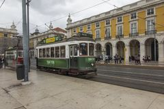 Lisbon, Portugal - June 10, 2018: Typical Yellow Vintage Tram in. Lisbon, Portugal stock image