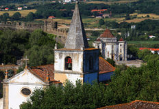lisbon Portugal Malowniczy, średniowieczny miasteczko Obidos, Zdjęcie Stock