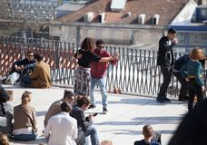 Lisbon, Portugal - Mar 2018 - People having tango dancing in a public square. stock photo
