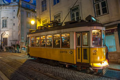 LISBON, PORTUGAL – March, 28, 2014: Famous yellow tram 28 Royalty Free Stock Photography