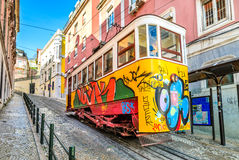 Lisbon, Portugal. MARCH 22, 2012: Gloria Funicular in the city center of Lisbon, National Monument in Portugal and a popular tourist attraction of Europe Stock Photography