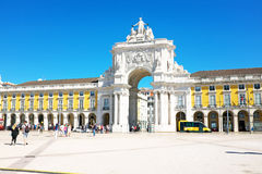 Lisbon, Portugal -May 30, 2015: Commerce square, one of the most Royalty Free Stock Image