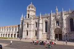 Lisbon, Portugal - May 15: Jerónimos Monastery in Lisbon on May 15, 2014. Jeronimos - the grandest monument of late Gothic Manuel Royalty Free Stock Images