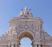 Lisbon, Portugal - May 14: The Rua Augusta Arch in Lisbon on May 14, 2014. Here are the sculptures made of Celestin Anatole Calmel Royalty Free Stock Photos