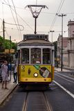 Lisbon Portugal. May 7, 2018. A stopped tram allows passengers to descend into the city. Public transport of passengers. Old royalty free stock photos