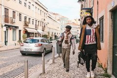 Lisbon, Portugal may 01, 2018: Street lifestyle. Migrants or refugees in Europe. Tourists or hipsters or the African. Inhabitants of Lisbon and African stock image
