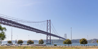 Lisbon, Portugal - May 15: 25th of April bridge in Lisbon on May 15, 2014. 25th of April bridge Stock Image