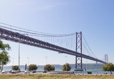 Lisbon, Portugal - May 15: 25th of April bridge in Lisbon on May 15, 2014. 25th of April bridge Royalty Free Stock Photo