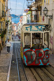 Lisbon, Portugal - May 17, 2017: Typical old tram in Lisbon, Portugal. It is a great tourist attraction stock photo