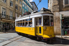 Lisbon, Portugal - May 18, 2017: Typical old tram in Lisbon, Portugal. It is a great tourist attraction royalty free stock photography