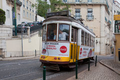 LISBON, PORTUGAL - May 04, 2017: Vintage tram in the city center Royalty Free Stock Images