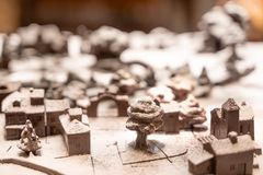 Lisbon, Portugal - 12/26/18: Miniature chocolate town model royalty free stock photography