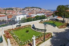 Lisbon, Portugal - Miradouro de Sao Pedro de Alcantara viewpoint Royalty Free Stock Images