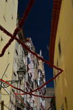 Lisbon, Portugal. Narrow street in the Bairro Alto quarter Royalty Free Stock Photography