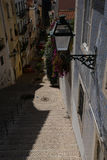 Lisbon, Portugal. Narrow street in the Bairro Alto quarter Royalty Free Stock Image