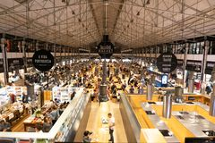 LISBON, PORTUGAL - November 1, 2017: Time Out Market is a food hall located in Mercado da Ribeira at Cais do Sodre in Lisbon. A royalty free stock images