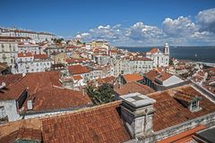 lisbon Portugal Obserwacja pokład Portas robi zolowi obrazy stock