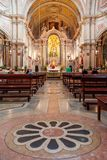 Baroque marble stone inlay in decorating the floor in Santo Antonio de Lisboa Church Stock Photo